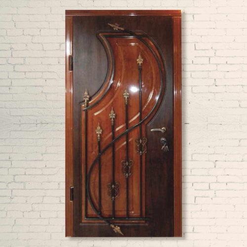 Дверь входная со стеклопакетом и ковкой Арфа