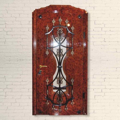 Дверь входная со стеклопакетом и ковкой Аскона