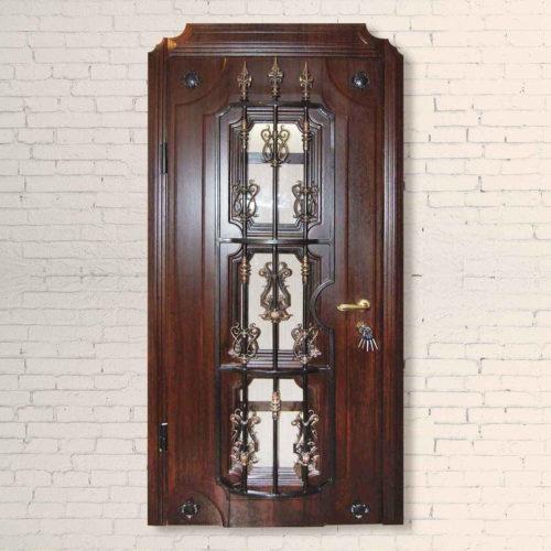 Дверь входная со стеклопакетом и ковкой Эталон